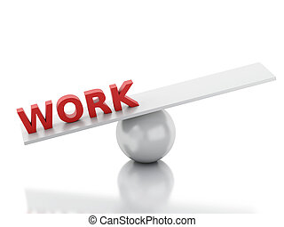 3d work on a balance. Isolated white background