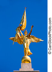 Gold winged Victory statue World War I memorial - Gold...