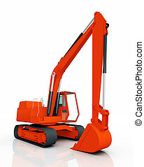Backhoe - Computer generated 3D illustration with a backhoe
