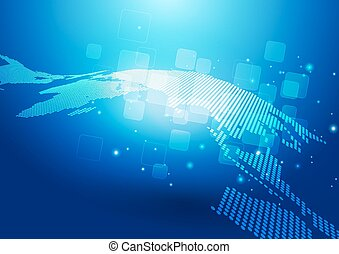 Abstract World Map & Technology Background - Abstract World...