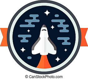 Shuttle badge - Round space scene badge with shuttle rocket