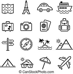 Travel symbols and Tourism signs, vector