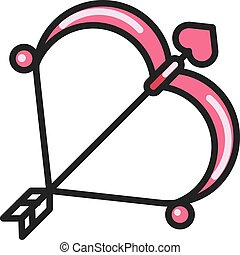 valentine day Cupid bow and arrow flat icon - valentine day...