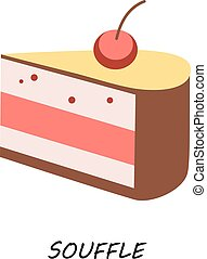 Dessert, piece delicious cake with cherry vector flat style