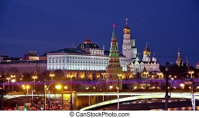 Moscow Kremlin night view in winter