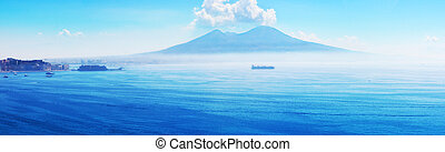Mount Vesuvius - View of the volcano Mount Vesuvius near...