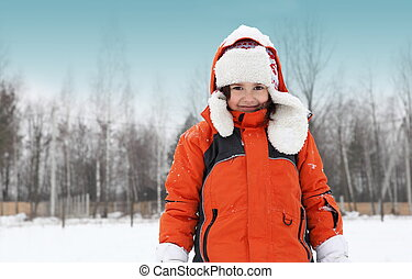 Girl Playing with Snow Outdoors