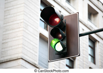 traffic lights on the road in the city