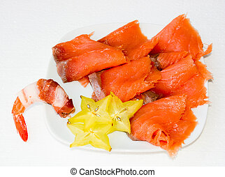 finger foods - finger food with shrimps and bacon salmon...