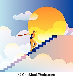 At the End of the World - abstract, stylized vector...
