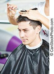 macho, peluquero, en, trabajo,