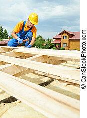 roofer, charpentier, travaux, sur, toit,