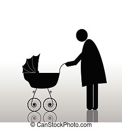 mom with baby color vector