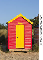 southwold beach hut by the beach at dawn