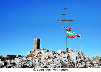 Bulgarian flag Shipka - Memorial Shipka view in...