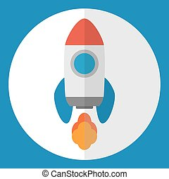 Space roket icon. Start Up concept symbol. - Space roket...