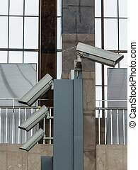 cameras video surveillance at a railway station. security...