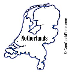 Netherlands - Outline map of the Netherlands over a white...