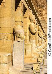 antiga, estátuas, necrotério, Egito,  Hatshepsut,  -, Templo