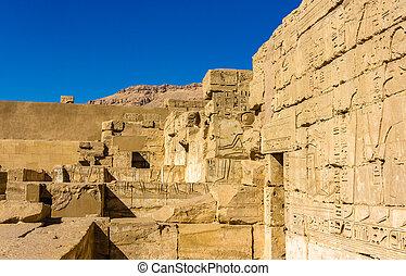 antiga, necrotério,  luxo, esculturas,  III,  ramses, Templo