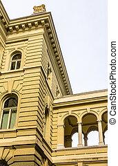 Details of Bundeshaus palace in Bern - Switzerland