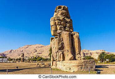 The North Colossus of Memnon near Luxor - Egypt
