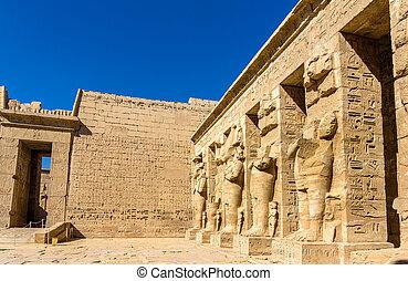necrotério, Egito, dentro,  -, Templo,  ramses,  III,  Luxor