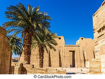 vista, de, a, necrotério, Templo, de, ramses, III, perto,...