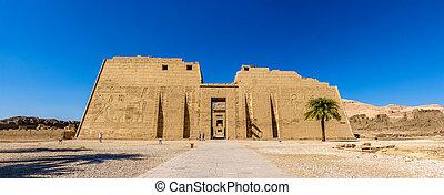 necrotério, Egito,  Luxor,  ramses,  III, Templo