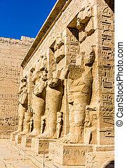 antiga, estátuas, egípcio, necrotério,  ramses,  III, Templo