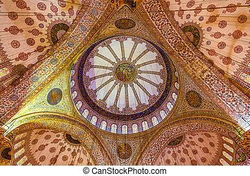 ISTANBUL, TURKEY - JANUARY 5: Dome of Sultan Ahmed Mosque on...