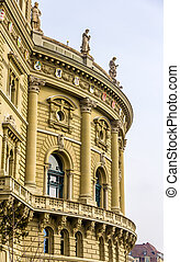 Details of Bundeshaus palace in Bern - Switzerland