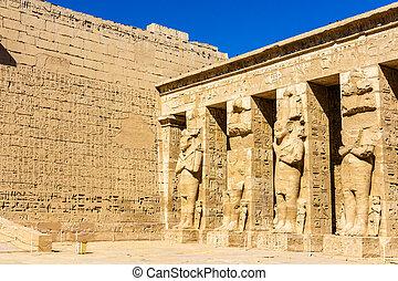 antiga, egípcio, estátuas, em, a, necrotério, Templo, de,...