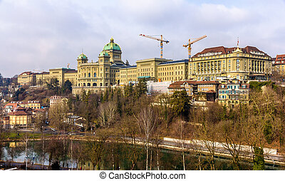 View of the Federal Palace of Switzerland (Bundeshaus) in...
