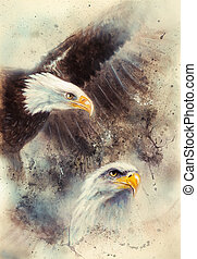 beautiful painting of two eagles on an abstract background...