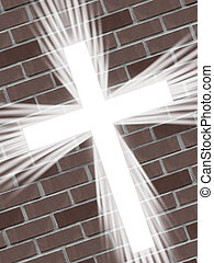 white cross light with bricks
