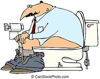 Man On A Toilet - This illustration depicts a man sitting on...