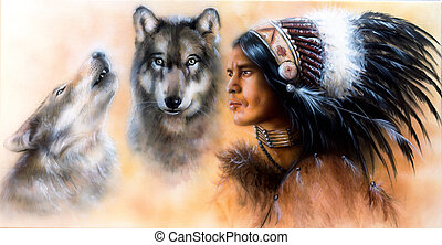 animals wolf and portrait of american indian in national...