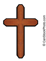 isolated brown wooden cross - isolated brown wooden ornate...