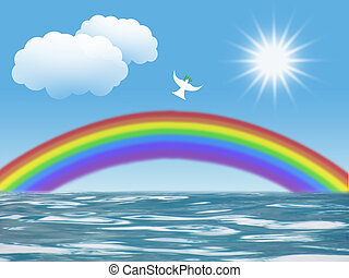 white peace dove and rainbow - white dove flying to sun with...