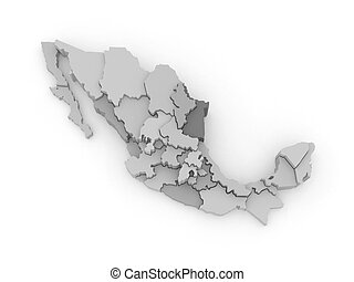 Three-dimensional map of Mexico 3d