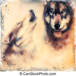 Animals wolves on canvas color background,eye contact -...
