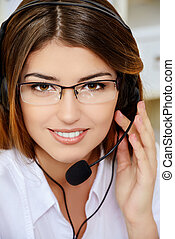 friendly operator - Friendly smiling young woman surrort...