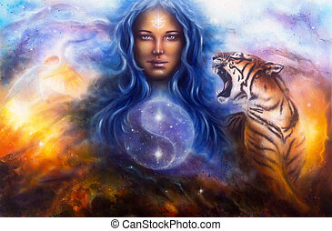 woman guarding a animals tiger wolf - A beautiful painting...