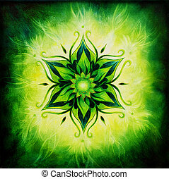 Flower Mandala on a green background oil painting - Flower...