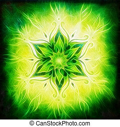 Flower Mandala on a green background fractal effect - Flower...