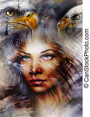 beautiful painting Woman with a flying eagle beautiful...