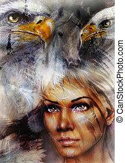Woman with a flying eagle beautiful painting illustration -...