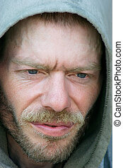 Homeless and Friendless - The face of an homeless person.