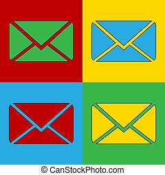 Pop art mail simbol icons Vector illustration
